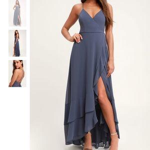 Lulus Granite Blue Lace-Up High-Low Maxi Dress